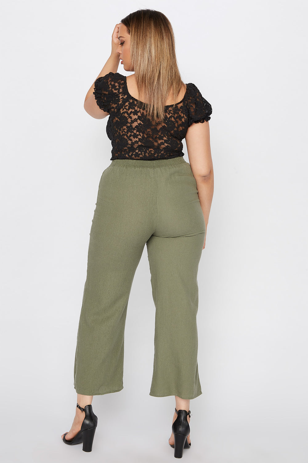Plus Size Self Tie Linen Palazzo Pant Green