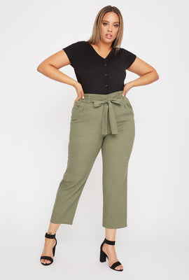 Plus Size Linen High-Rise Tie Pant