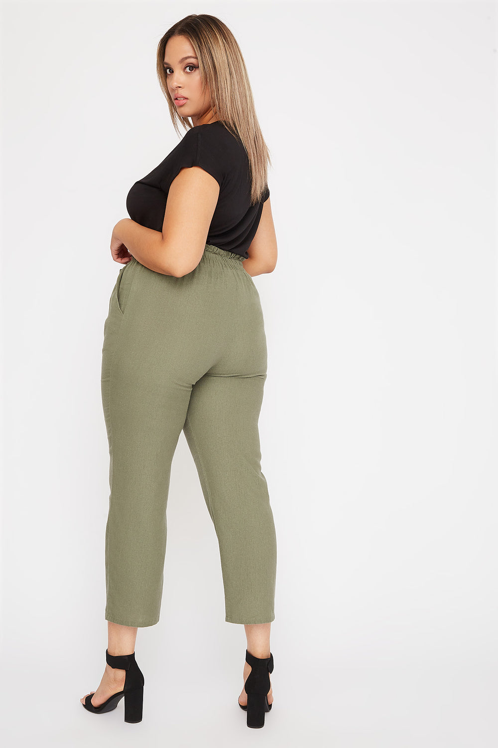 Plus Size Linen High-Rise Tie Pant Green