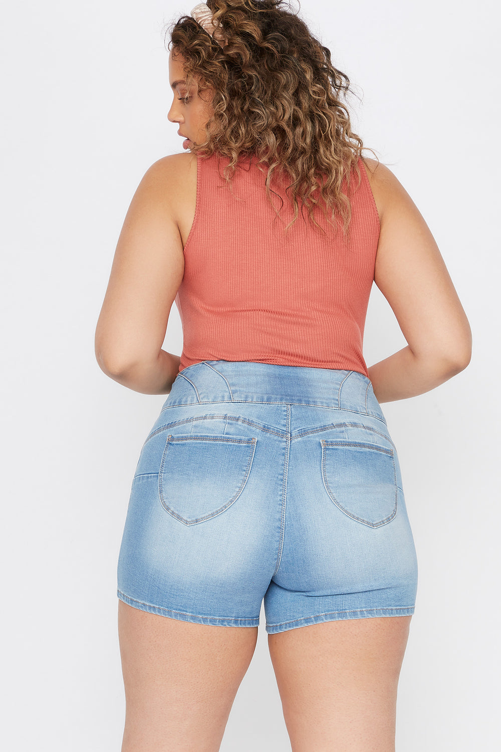 Plus Size Butt, I Love You 3-Tier High-Rise Push-Up Denim Short Sky Blue