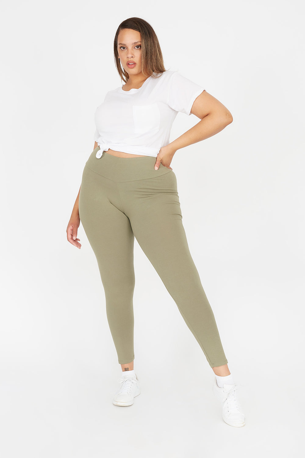 Plus Size High-Rise Legging Green