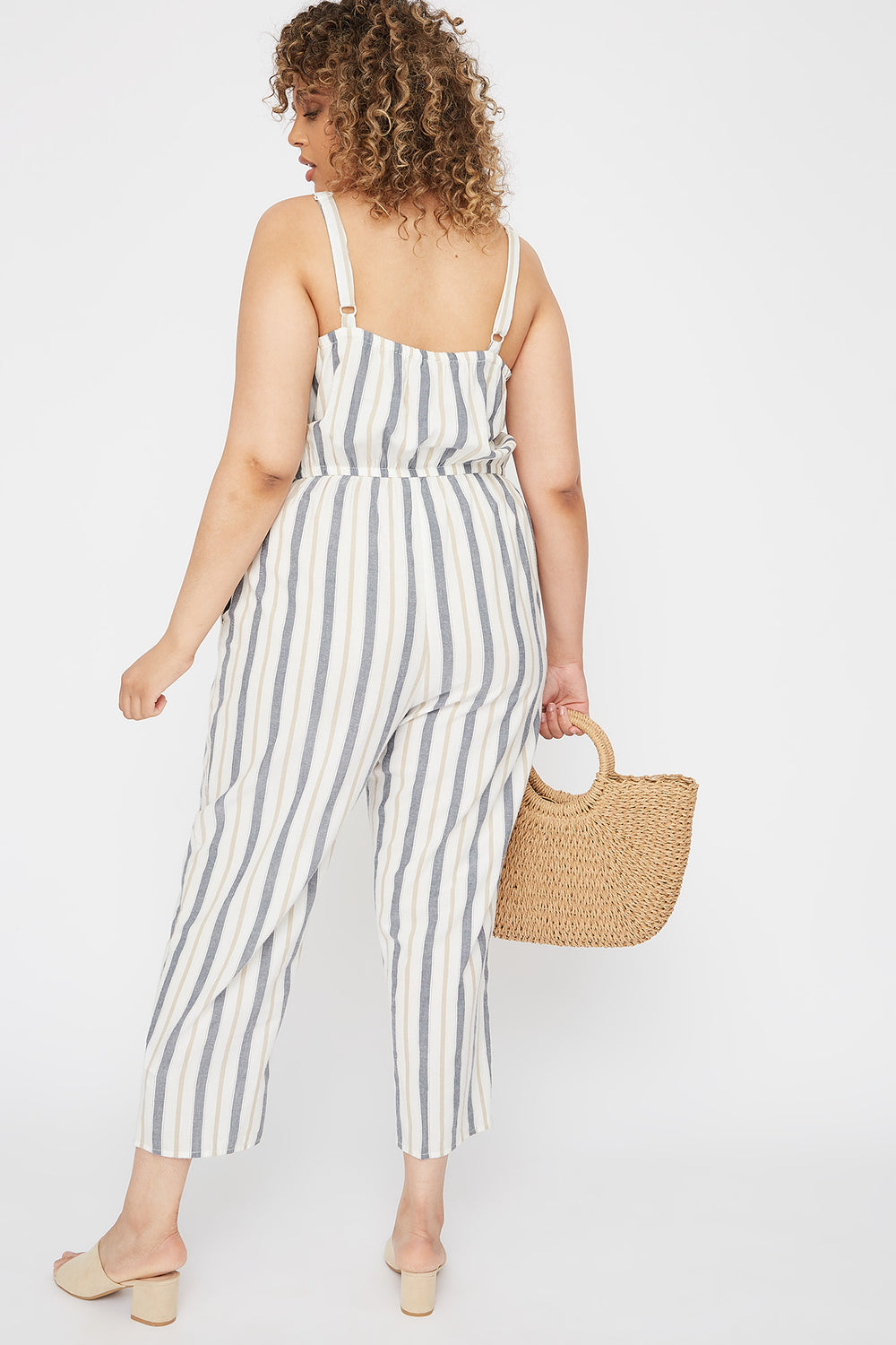 Plus Size Striped Button-Up Culotte Jumpsuit White