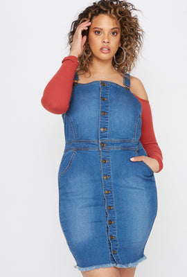 Plus Size Raw Hem Denim Overall Dress