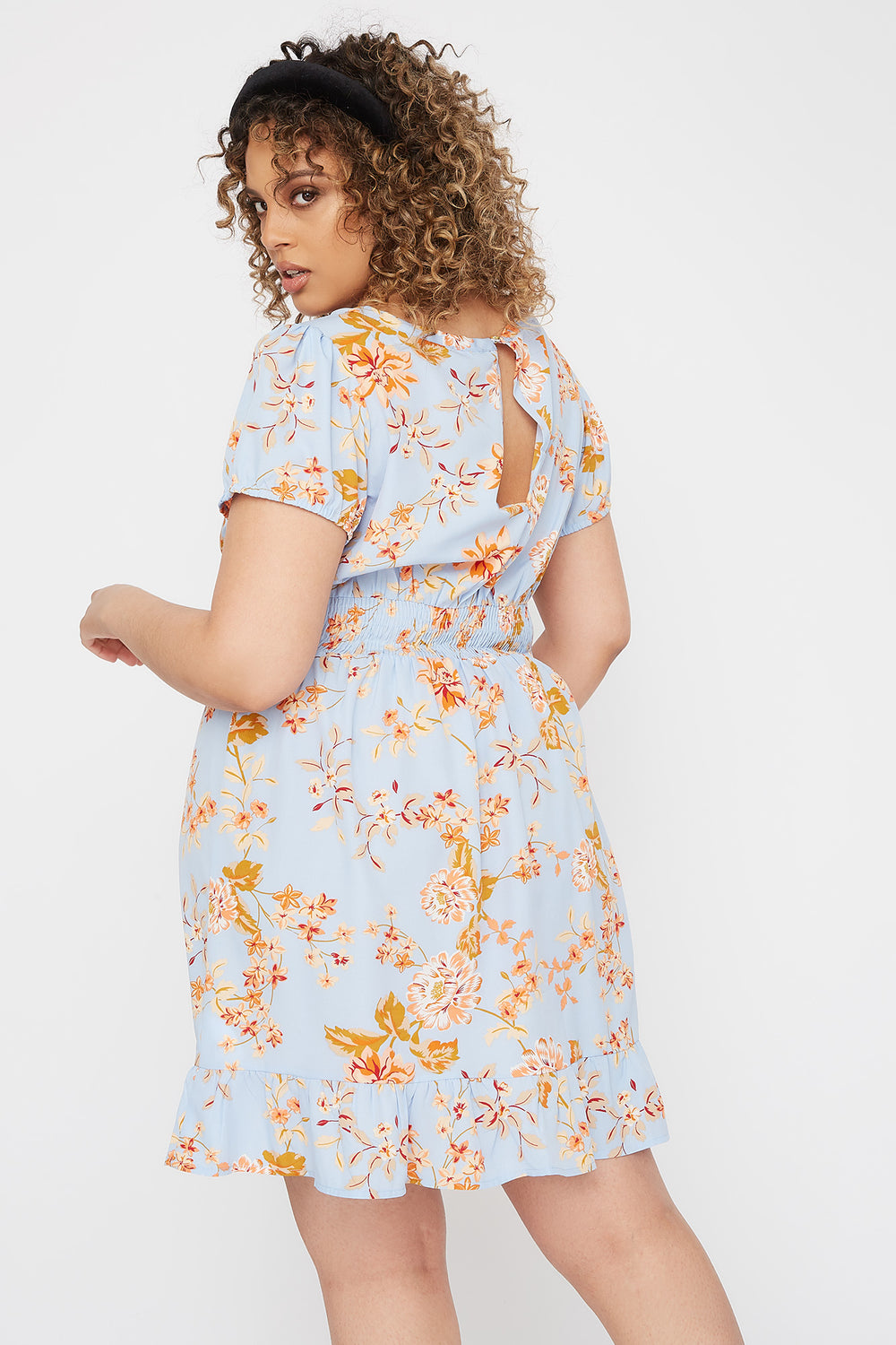 Plus Size Floral Ruffle Hem Mini Dress Blue