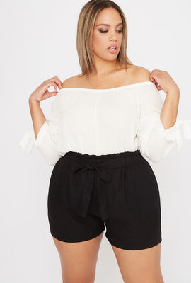 Plus Size Linen High-Rise Tie Short