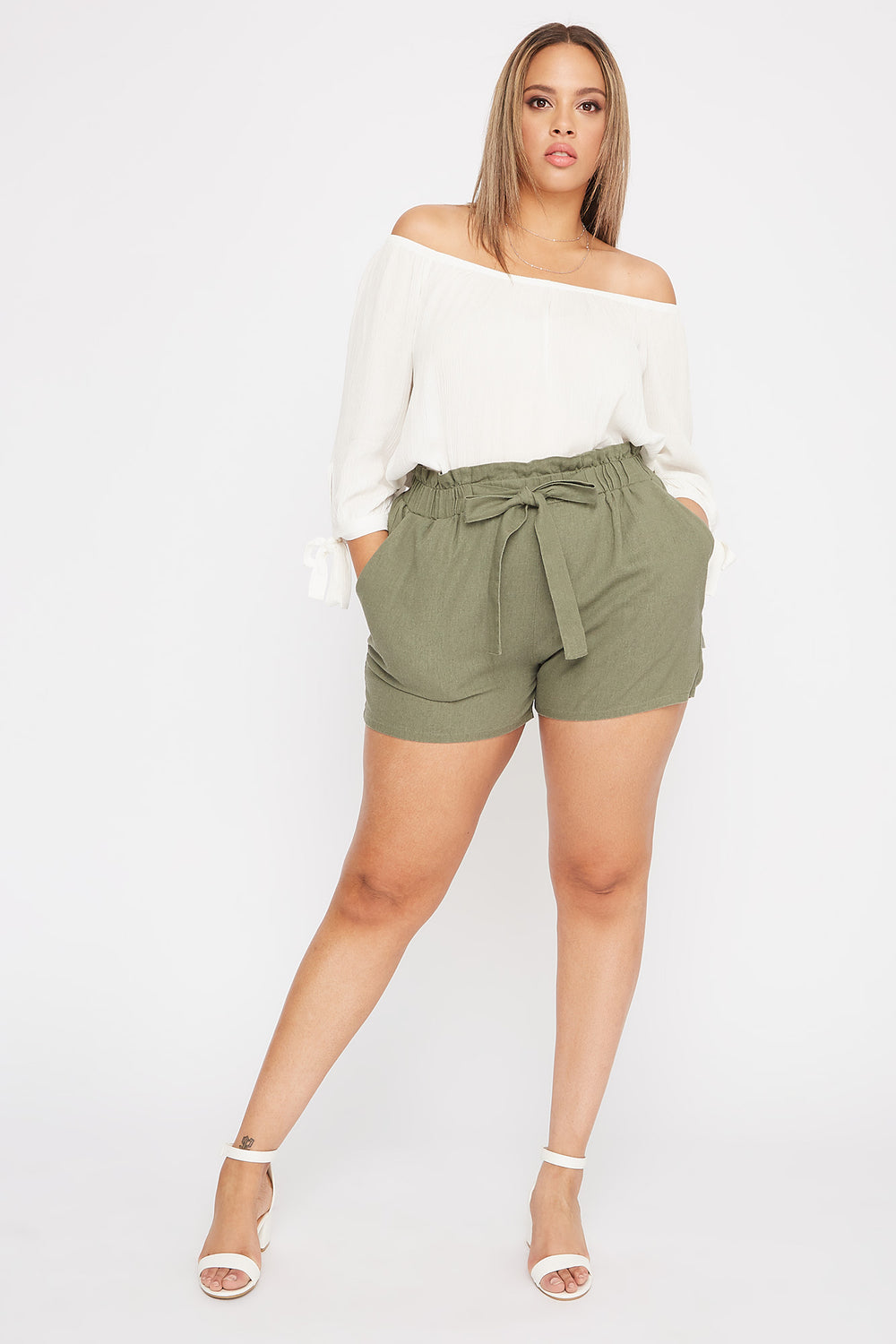 Plus Size Linen High-Rise Tie Short Green