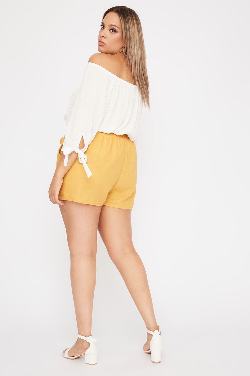 Plus Size Linen High-Rise Tie Short Mustard