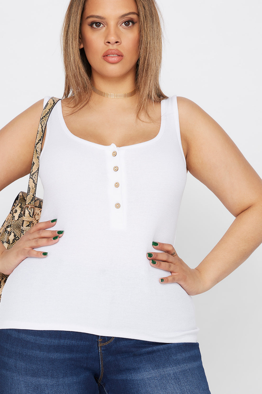 Plus Size Ribbed Button Tank White
