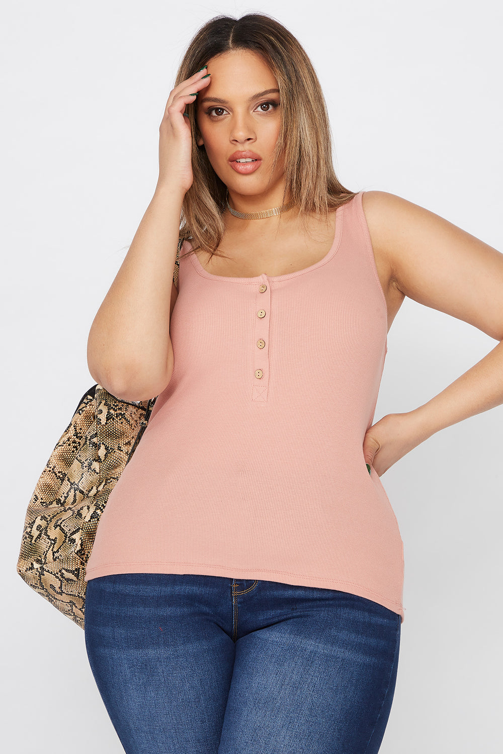 Plus Size Ribbed Button Tank Mauve
