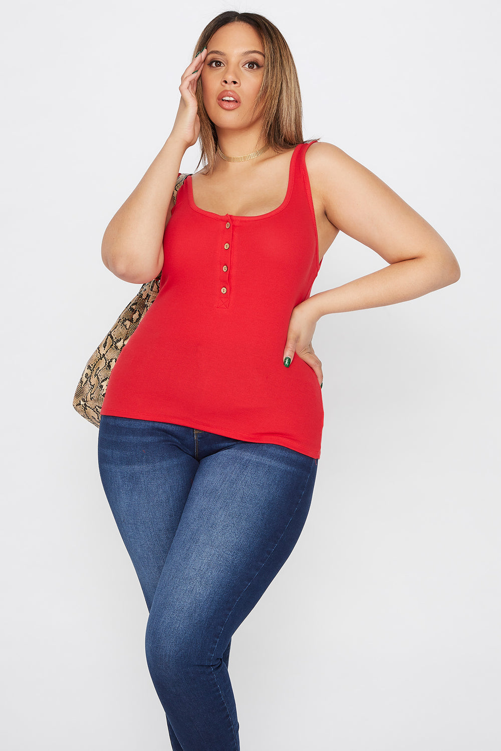 Plus Size Ribbed Button Tank Bright Red