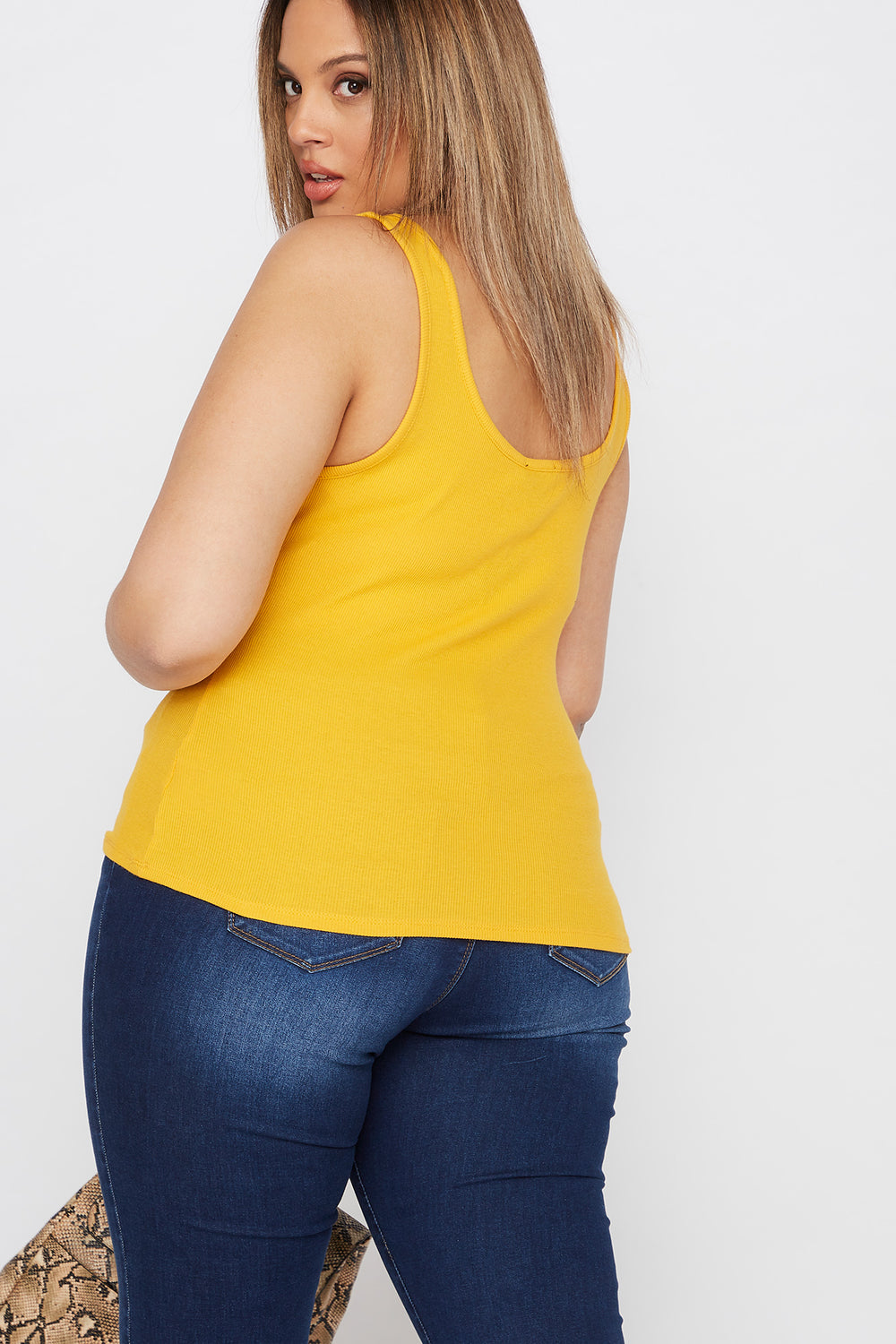 Plus Size Ribbed Button Tank Mustard