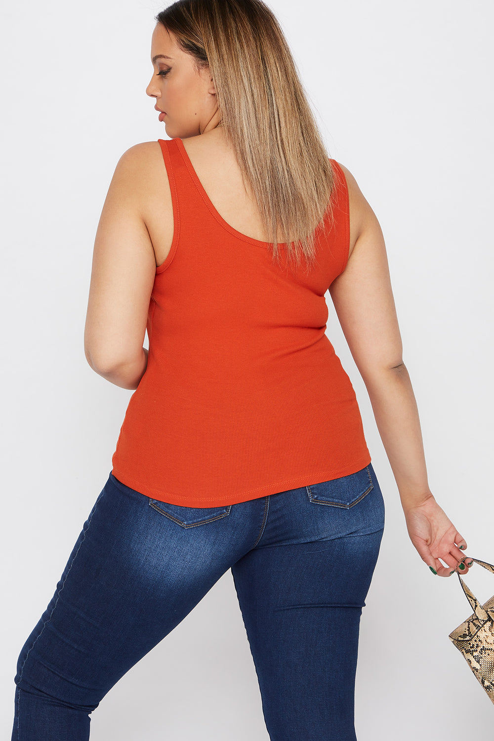 Plus Size Ribbed Button Tank Rust