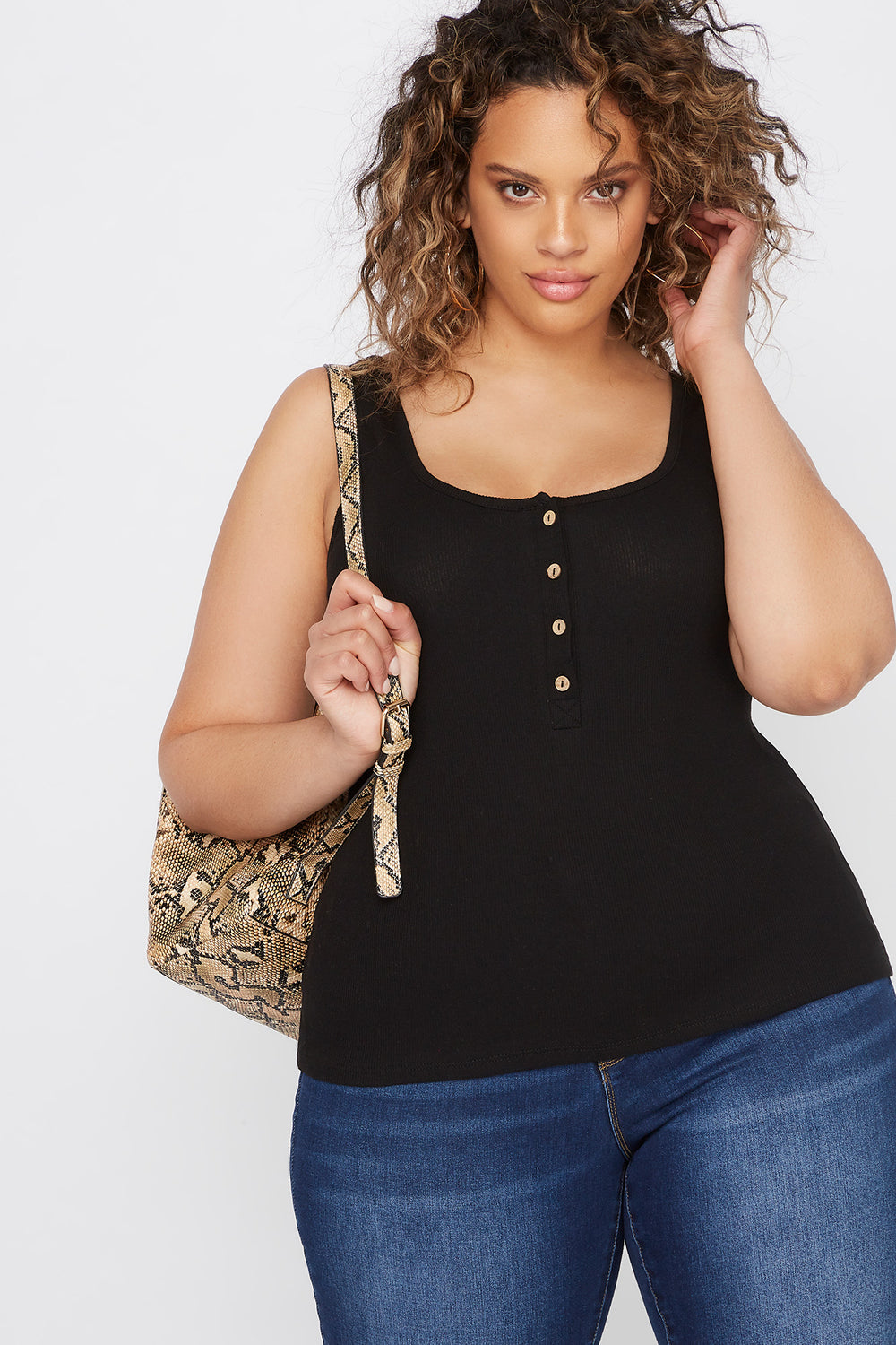 Plus Size Ribbed Button Tank Black