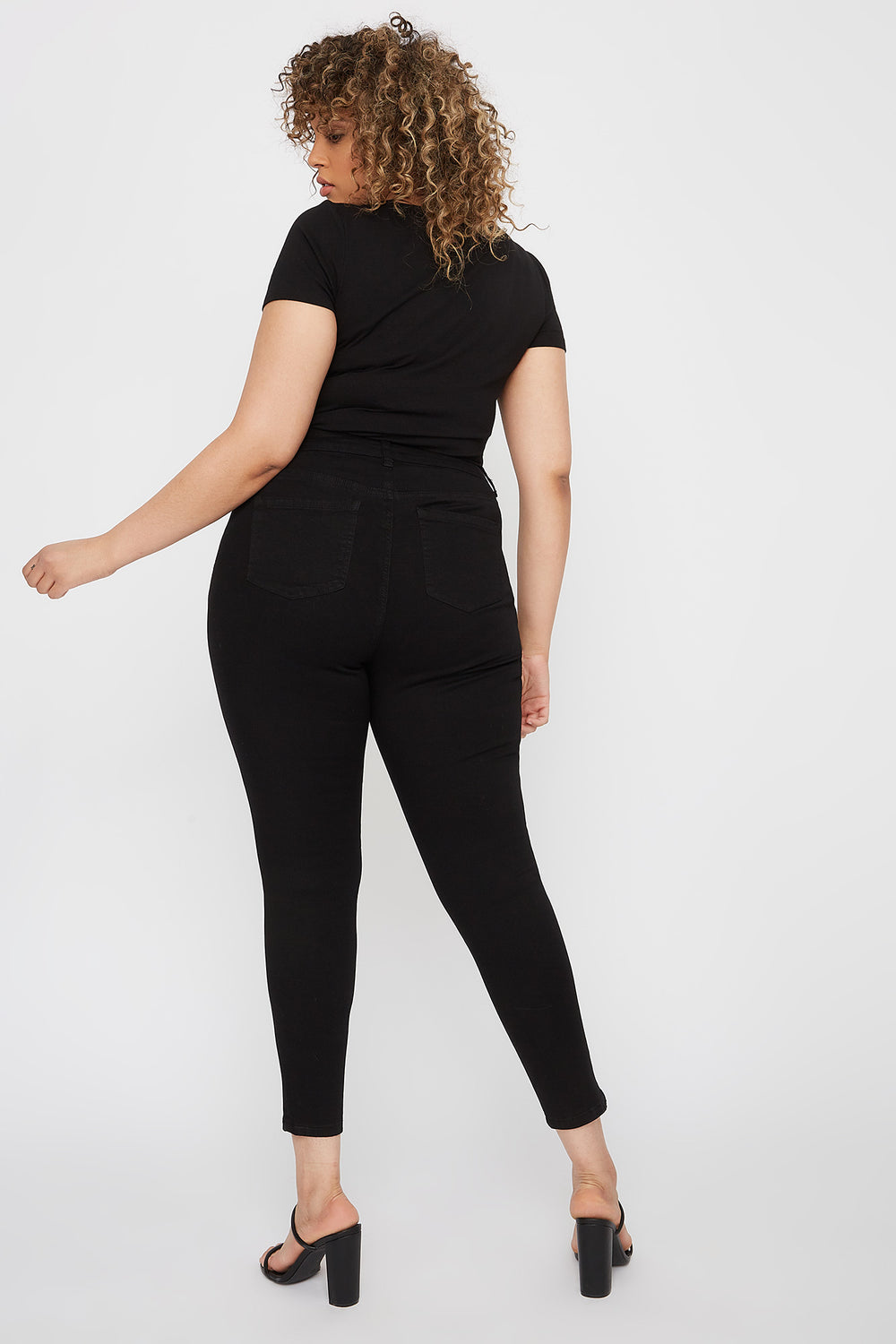 Plus Size High-Rise Distressed Skinny Jean Black