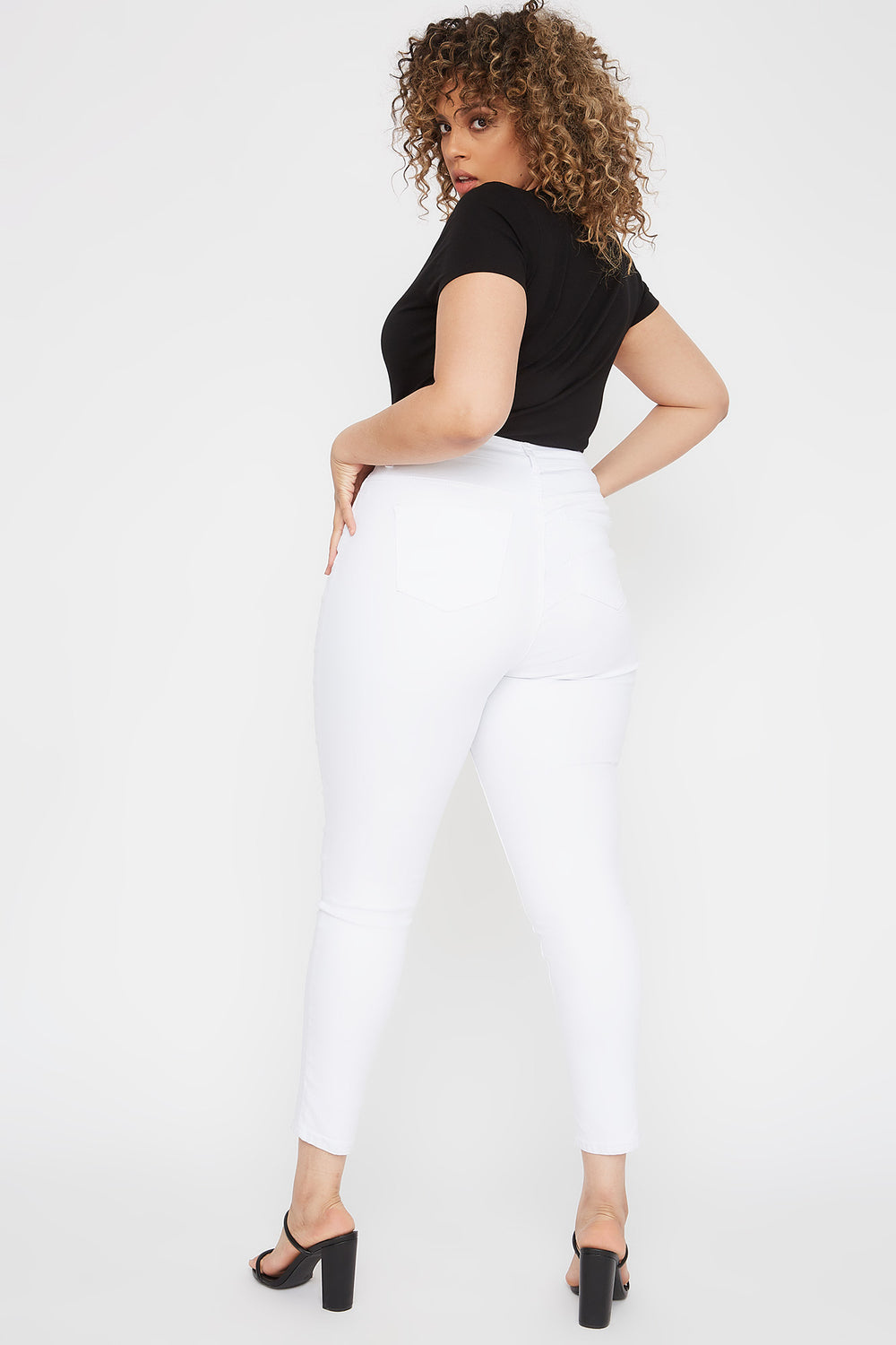 Plus Size High-Rise Distressed Skinny Jean White