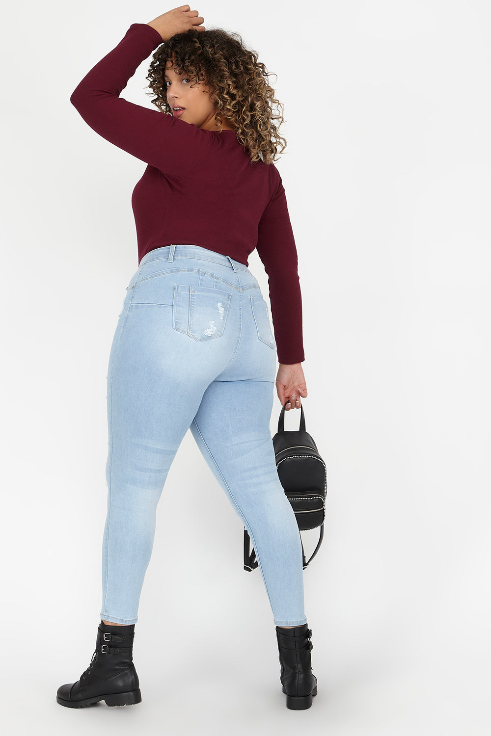 Plus Size Butt, I Love You High-Rise Push-Up Distressed Skinny Jean Light Denim Blue