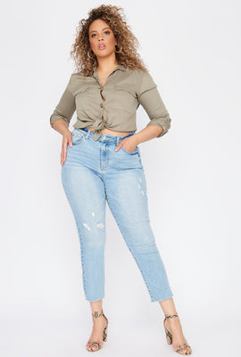 Plus Size High-Rise Distressed Slim Straight Jean