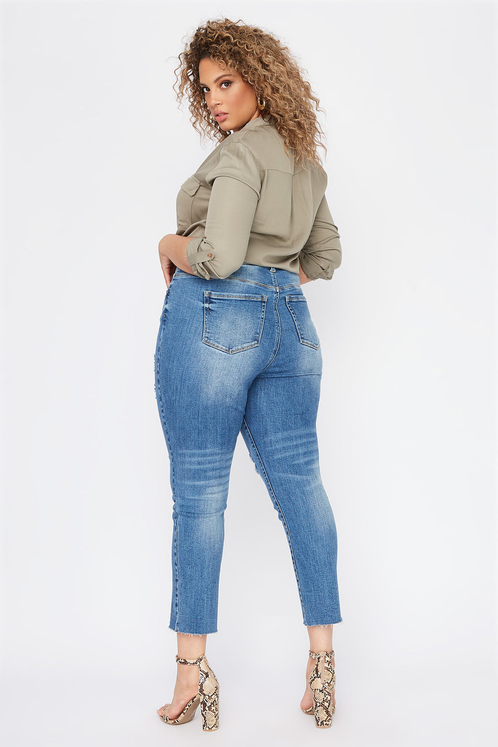 Plus Size High-Rise Distressed Slim Straight Jean Medium Blue