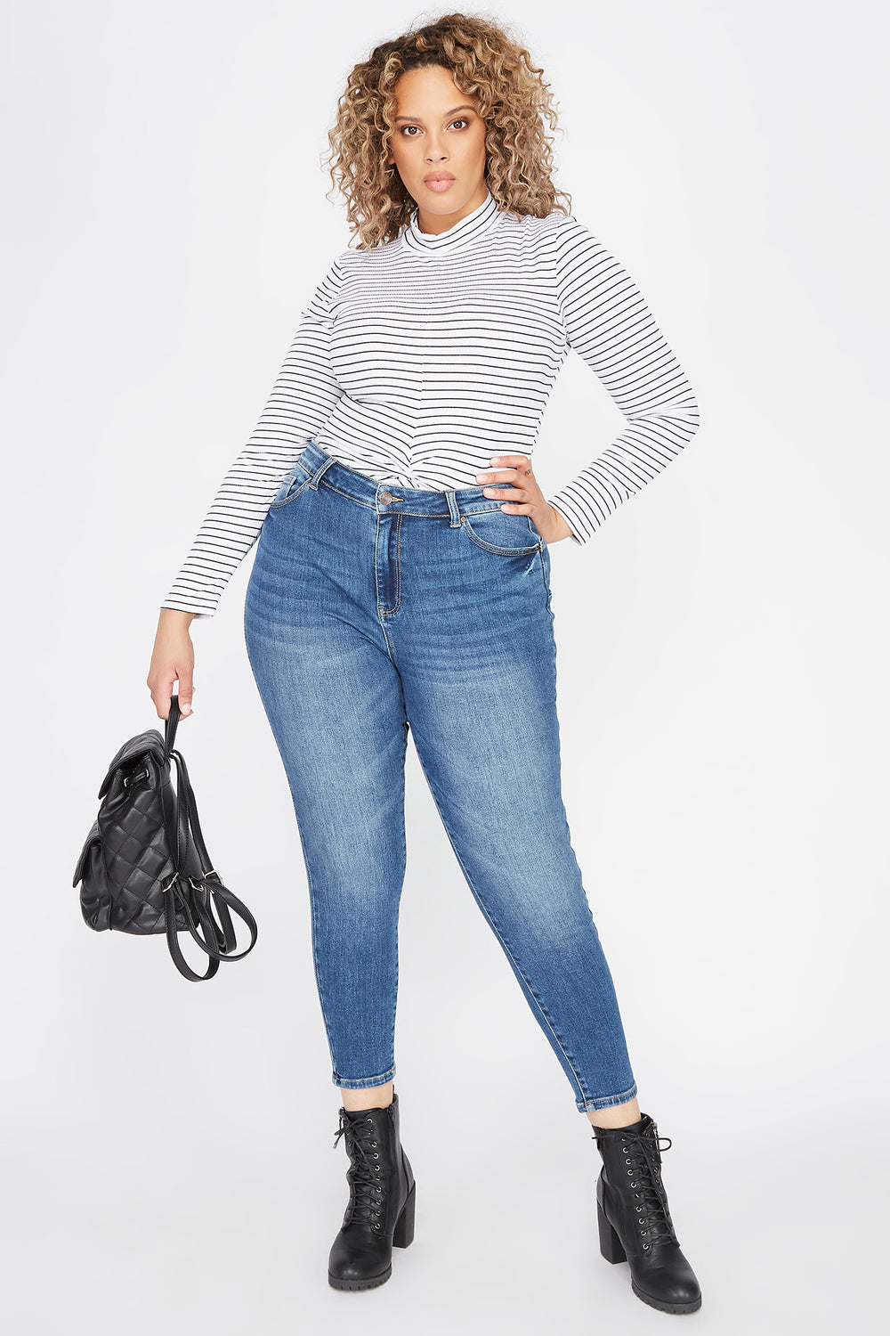 Plus Size Butt, I Love You High-Rise Push-Up Skinny Jean Dark Blue