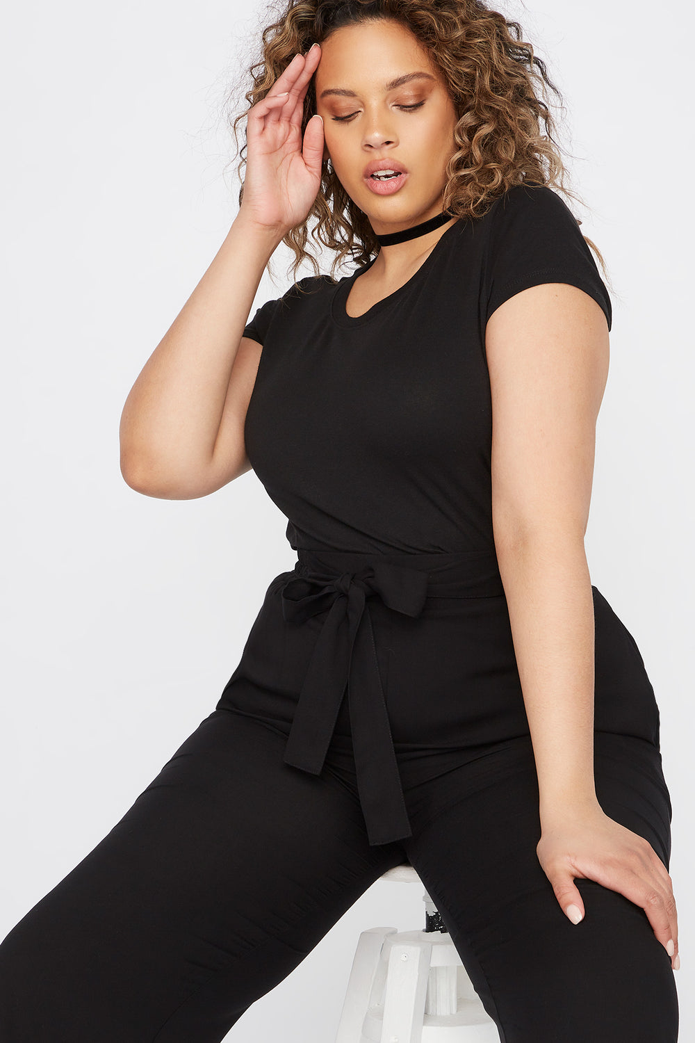 Plus Size Basic Crew Neck T-Shirt Black