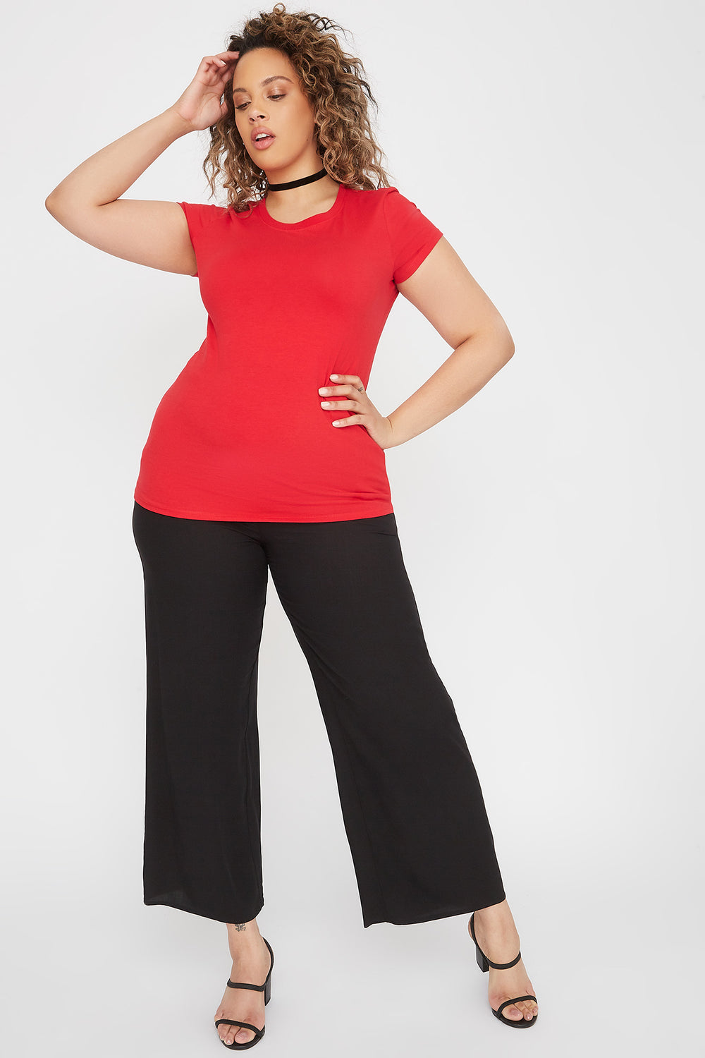 Plus Size Basic Crew Neck T-Shirt Red