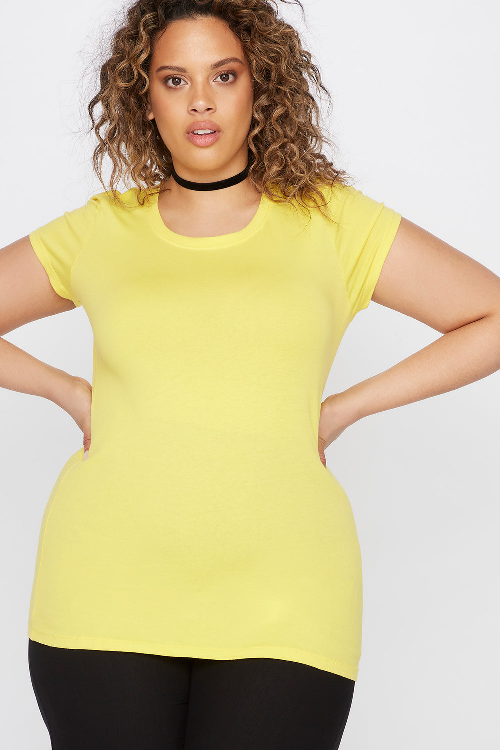 Plus Size Basic Crew Neck T-Shirt Yellow