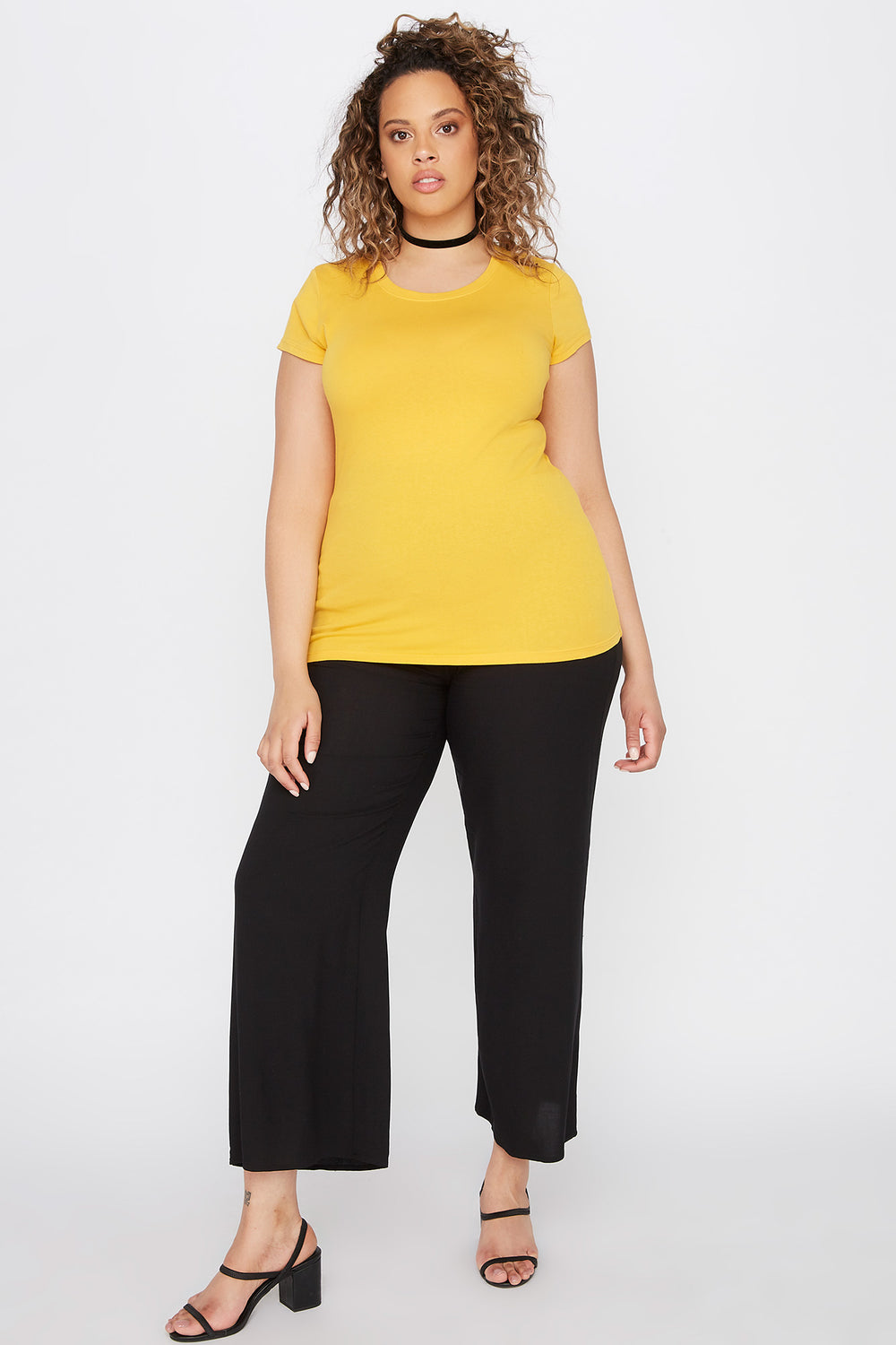 Plus Size Basic Crew Neck T-Shirt Mustard