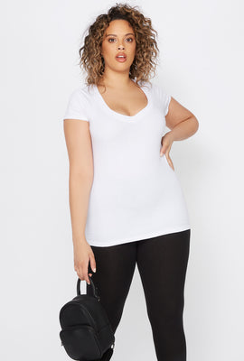 Plus Size Basic V-Neck T-Shirt