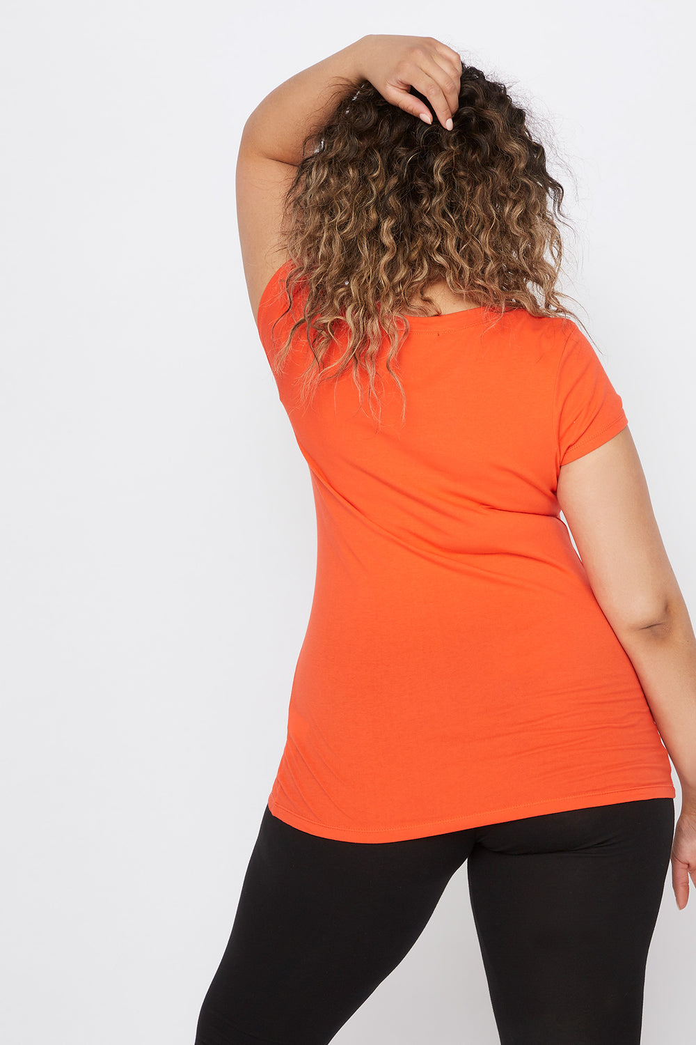 T-shirt de base à encolure en V - Grandes tailles Orange