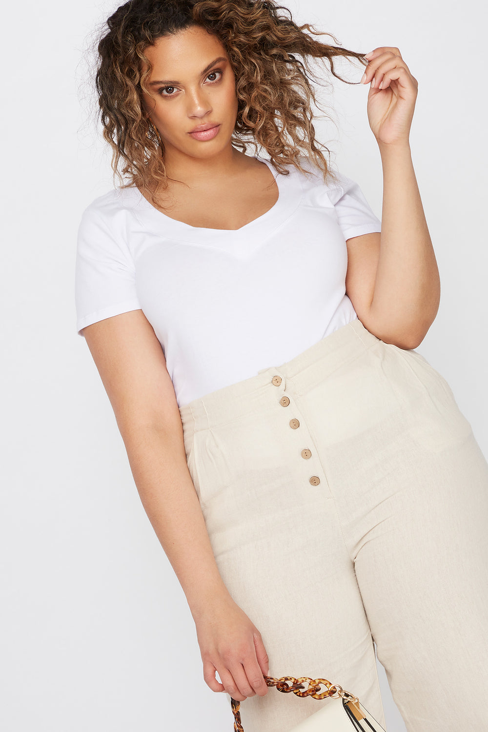 Plus Size Wide Band V-Neck T-Shirt White