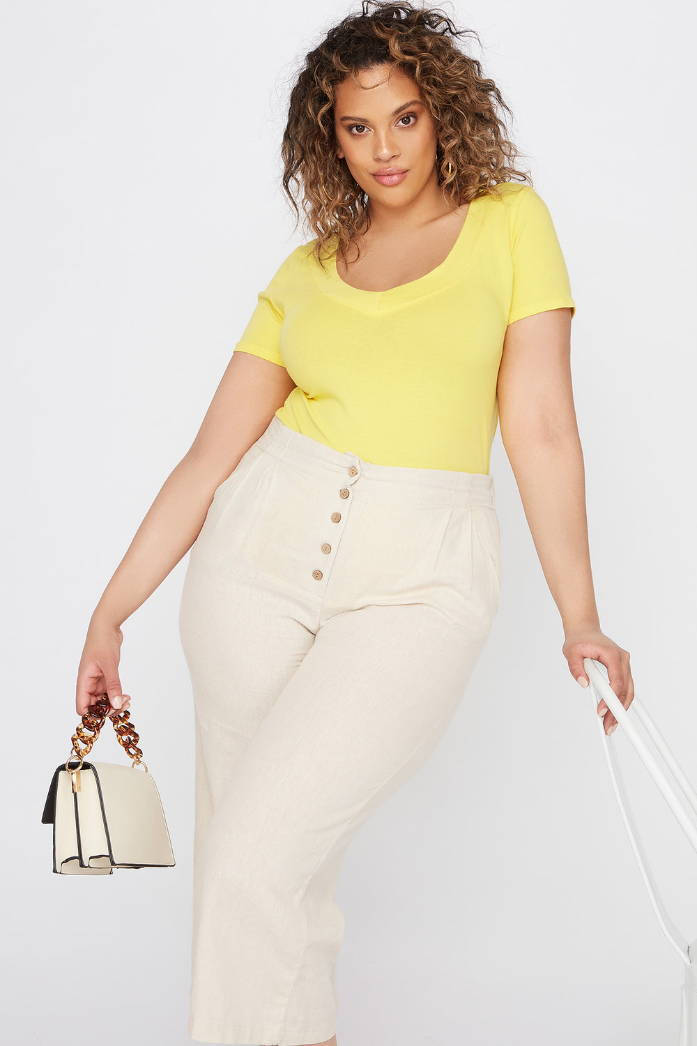 Plus Size Wide Band V-Neck T-Shirt Yellow