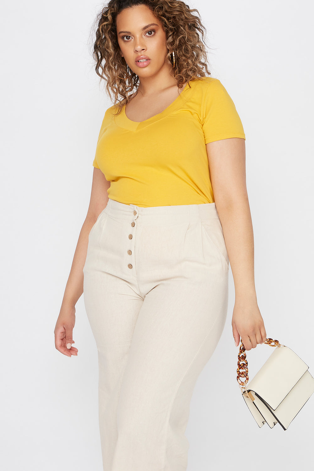 Plus Size Wide Band V-Neck T-Shirt Mustard