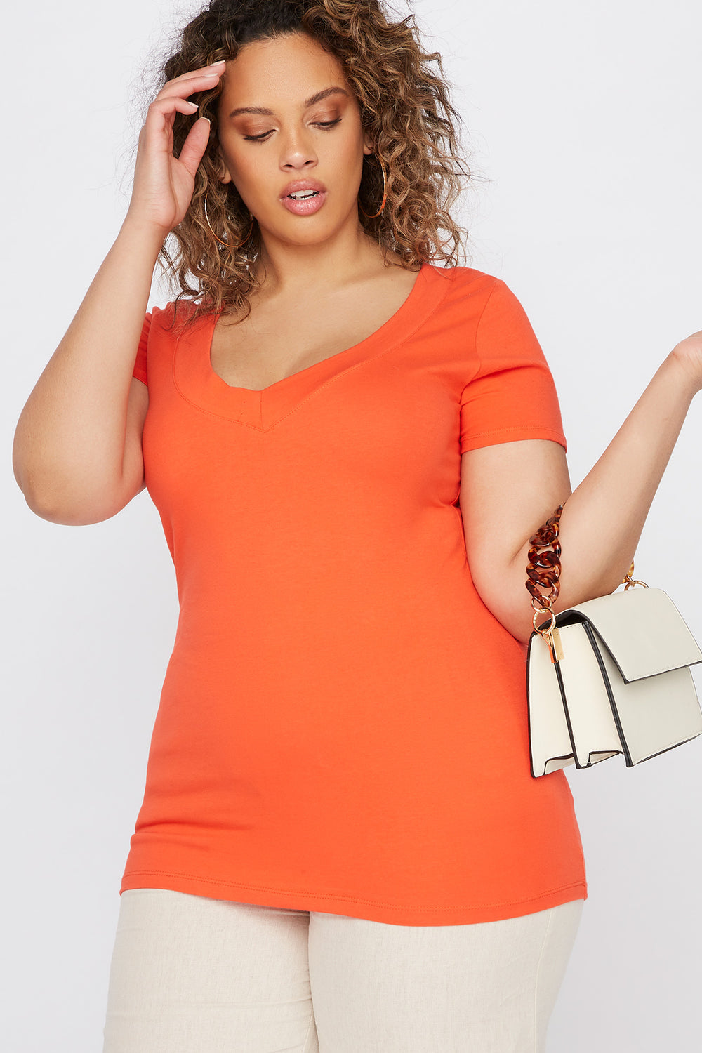 Plus Size Wide Band V-Neck T-Shirt Orange