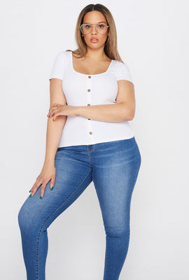 Plus Size Ribbed Button T-Shirt