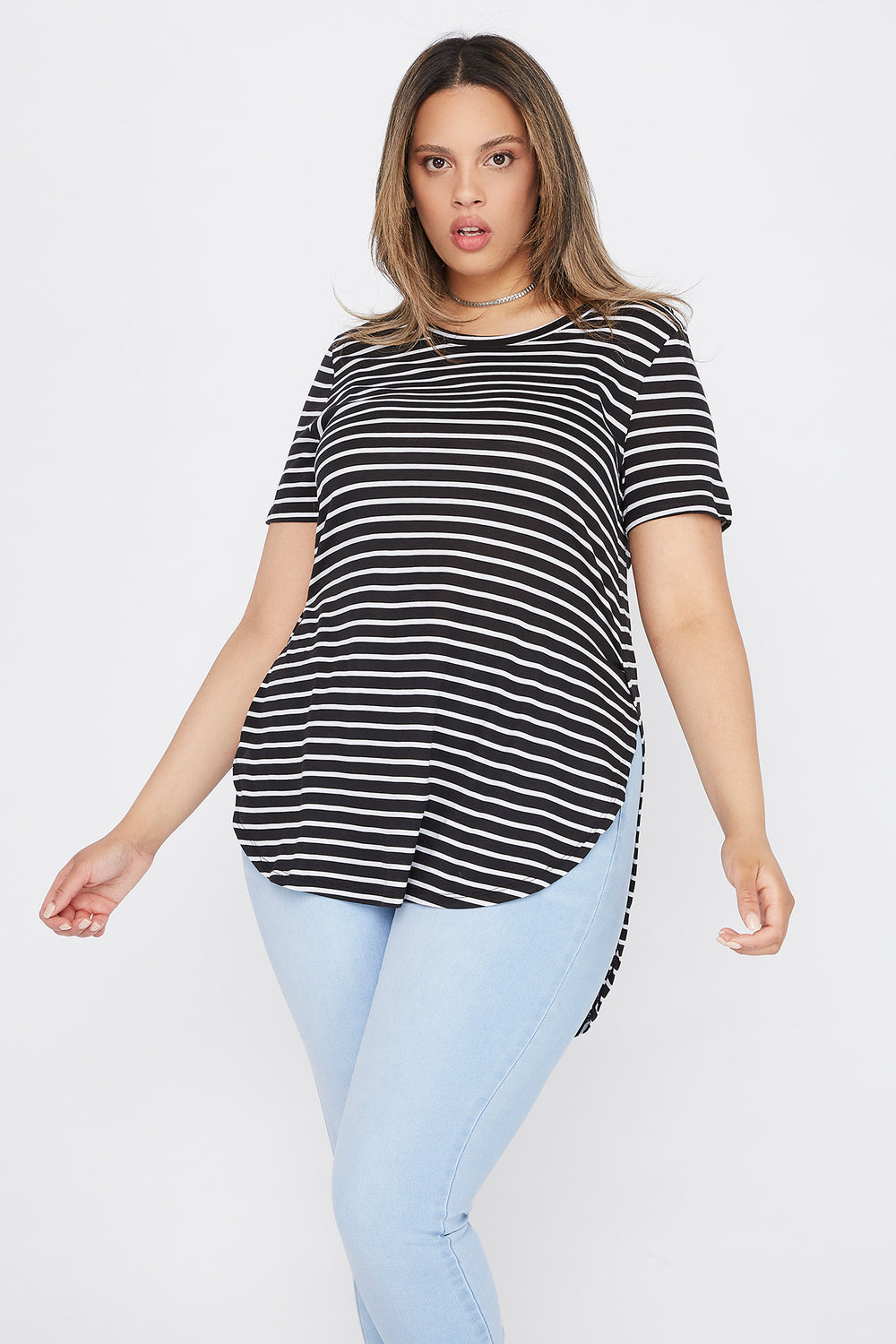 Plus Size Striped Relaxed T-Shirt Black