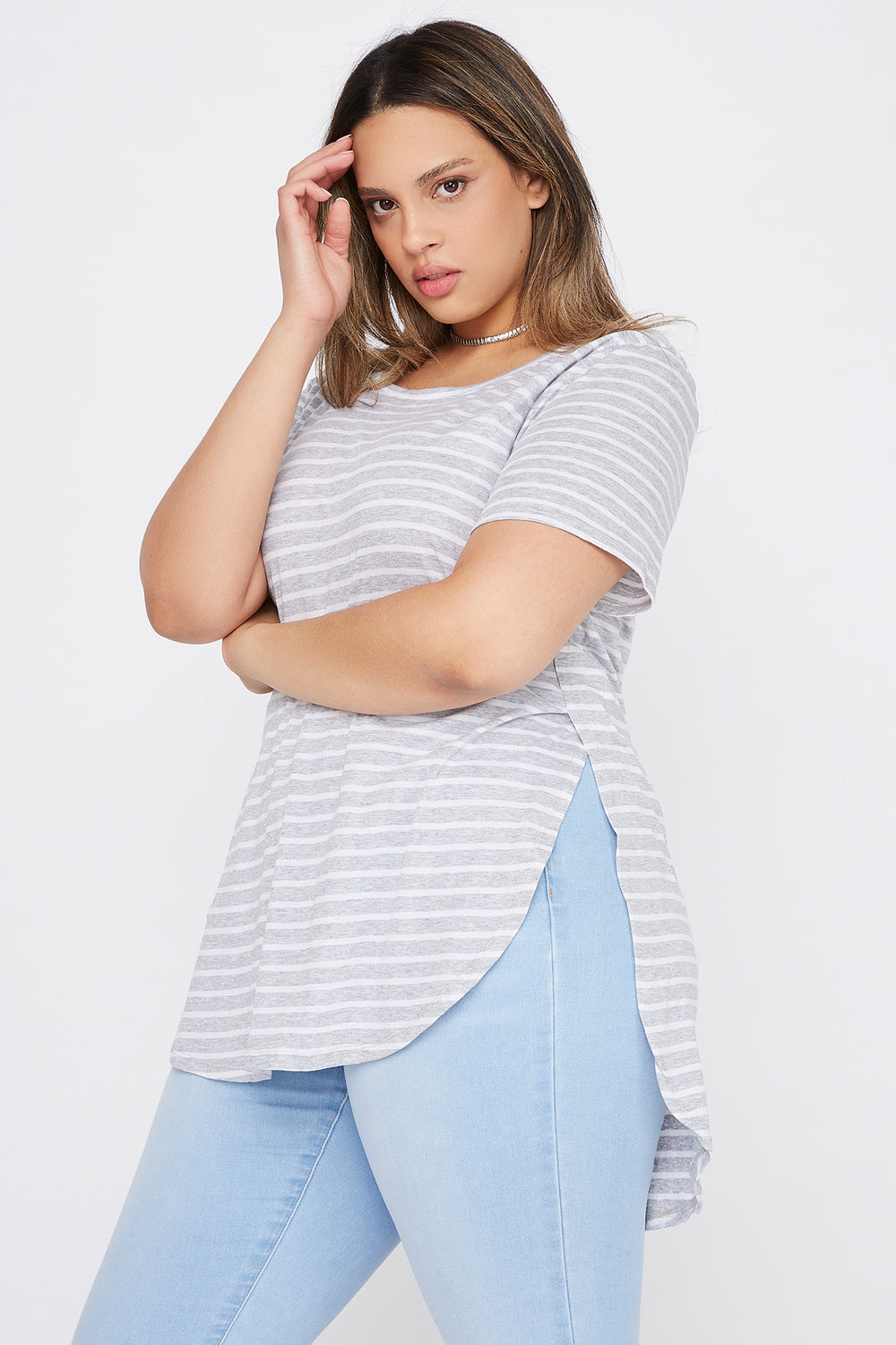 Plus Size Striped Relaxed T-Shirt Heather Grey
