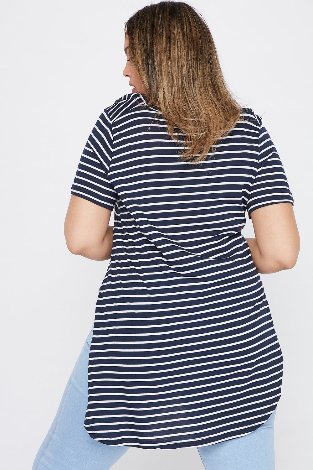 Plus Size Striped Relaxed T-Shirt Dark Grey