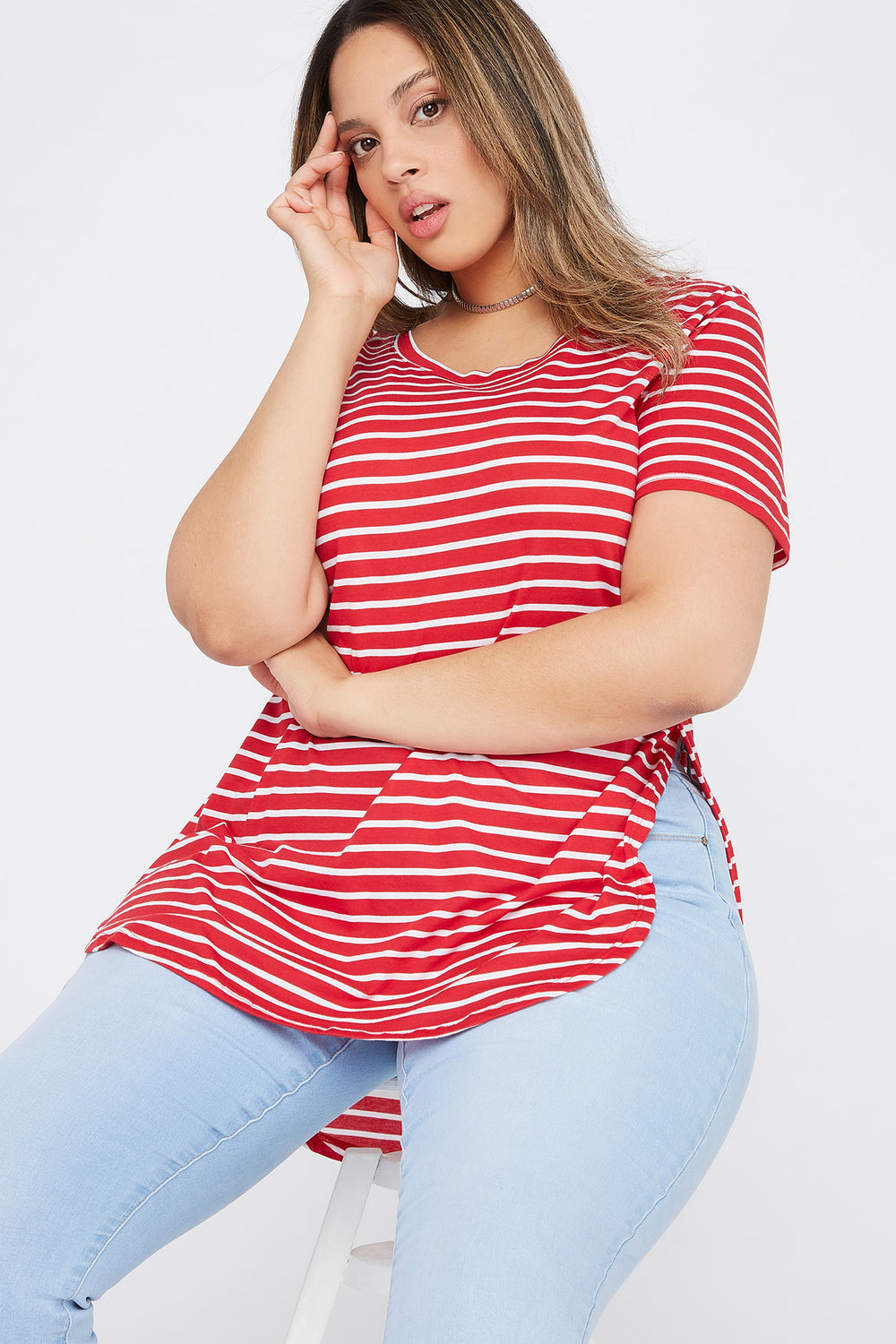 Plus Size Striped Relaxed T-Shirt Bright Red