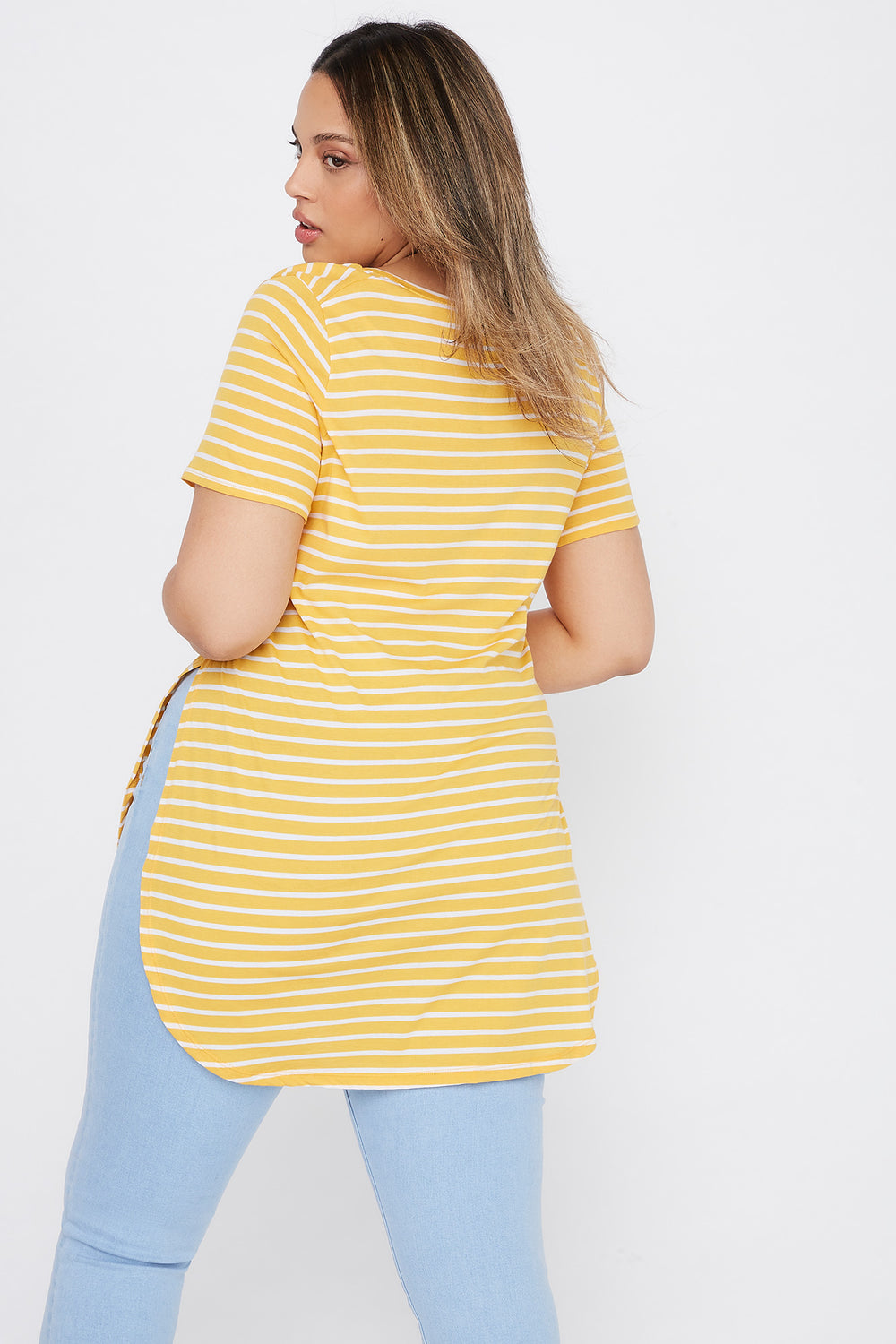 Plus Size Striped Relaxed T-Shirt Mustard