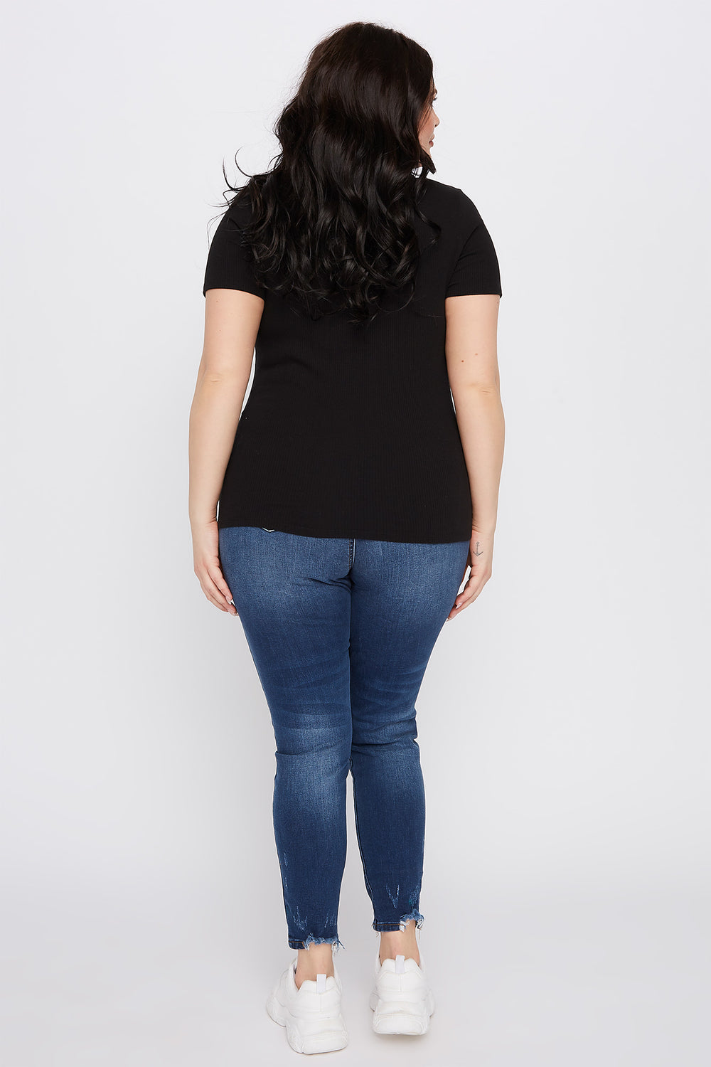 Plus Size Ribbed Button-Up V-Neck T-Shirt Black