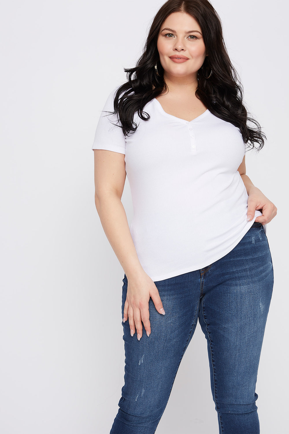 Plus Size Ribbed Button-Up V-Neck T-Shirt White
