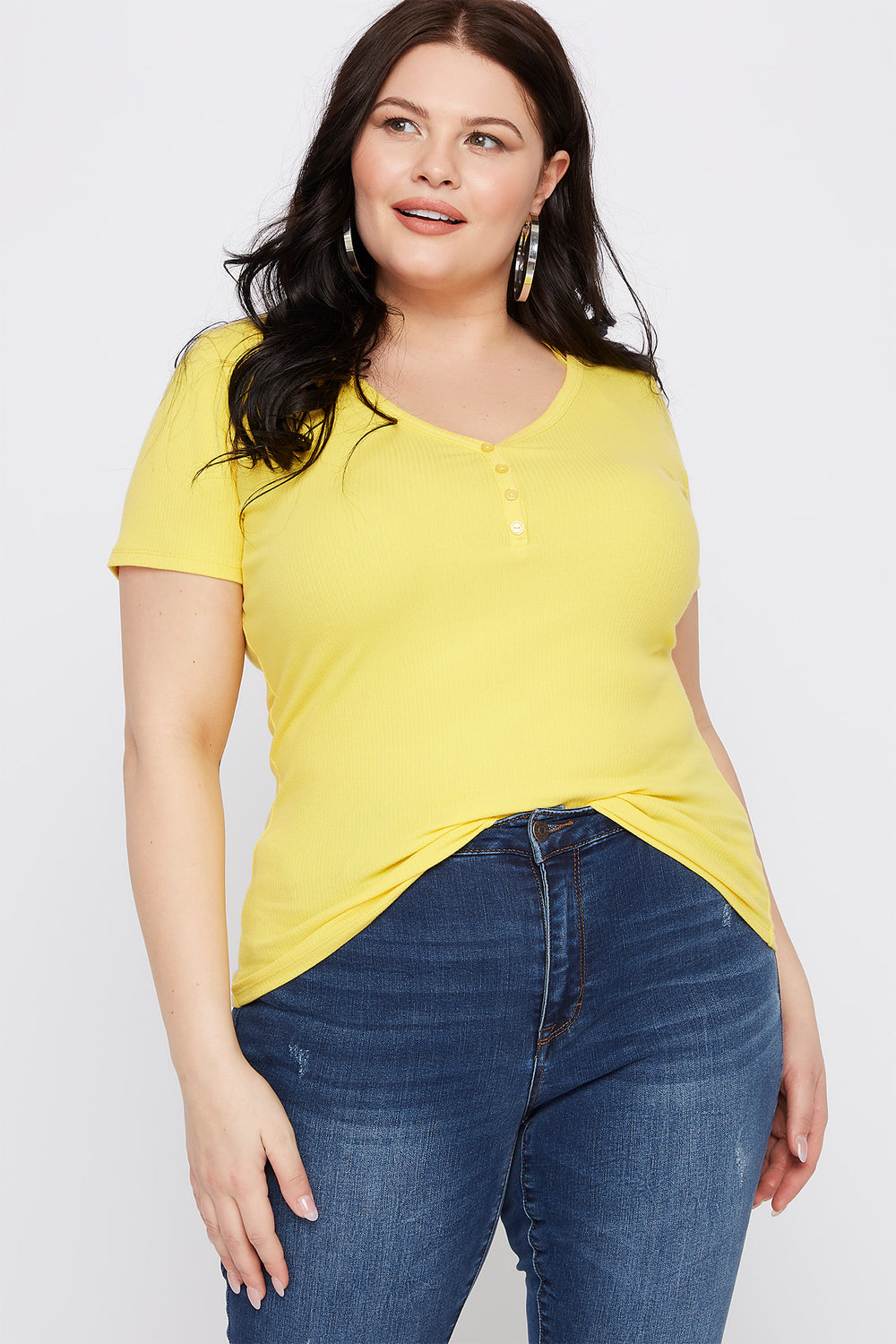 Plus Size Ribbed Button-Up V-Neck T-Shirt Yellow