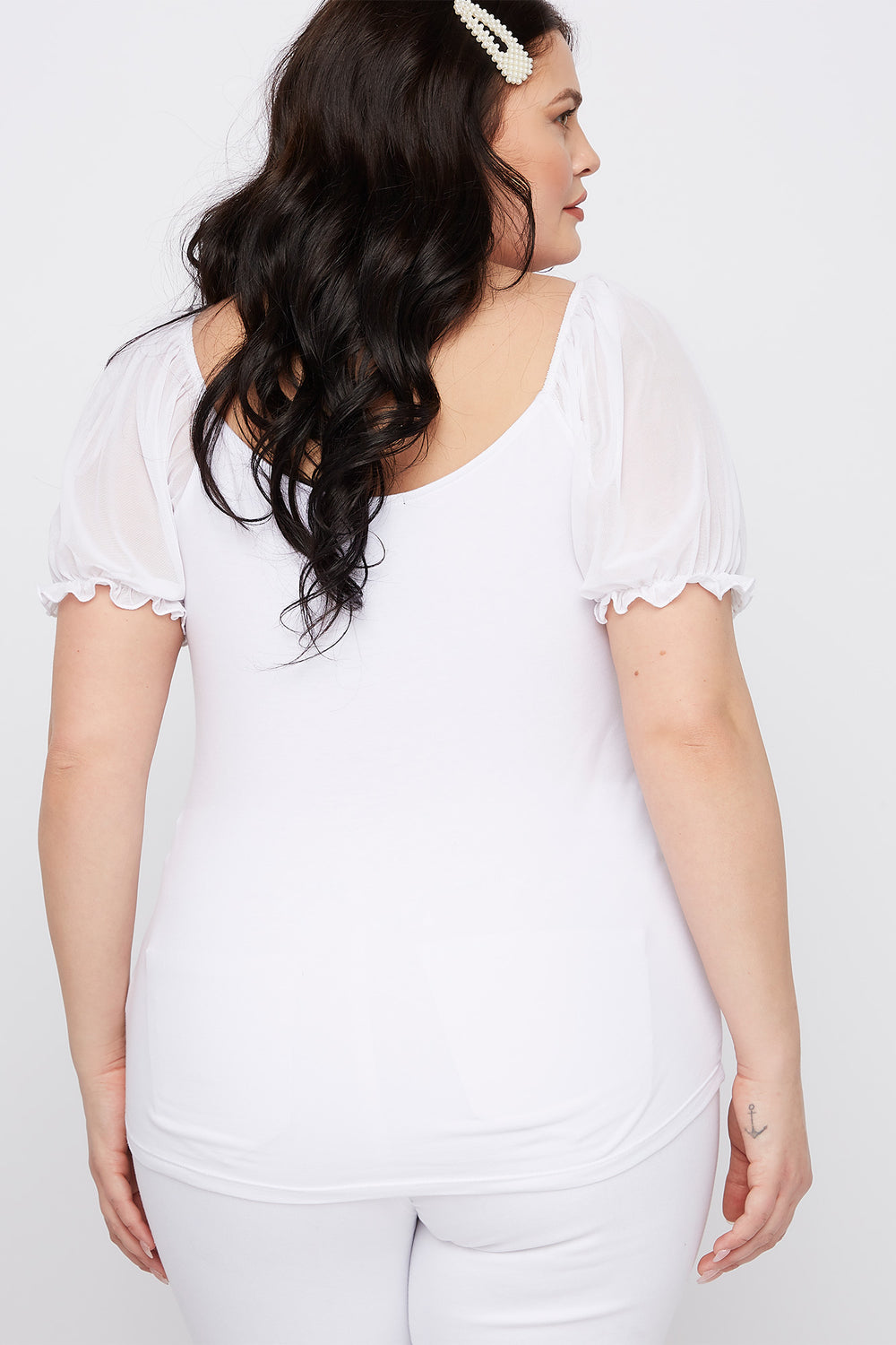 Plus Size Mesh Puff Sleeve T-Shirt White