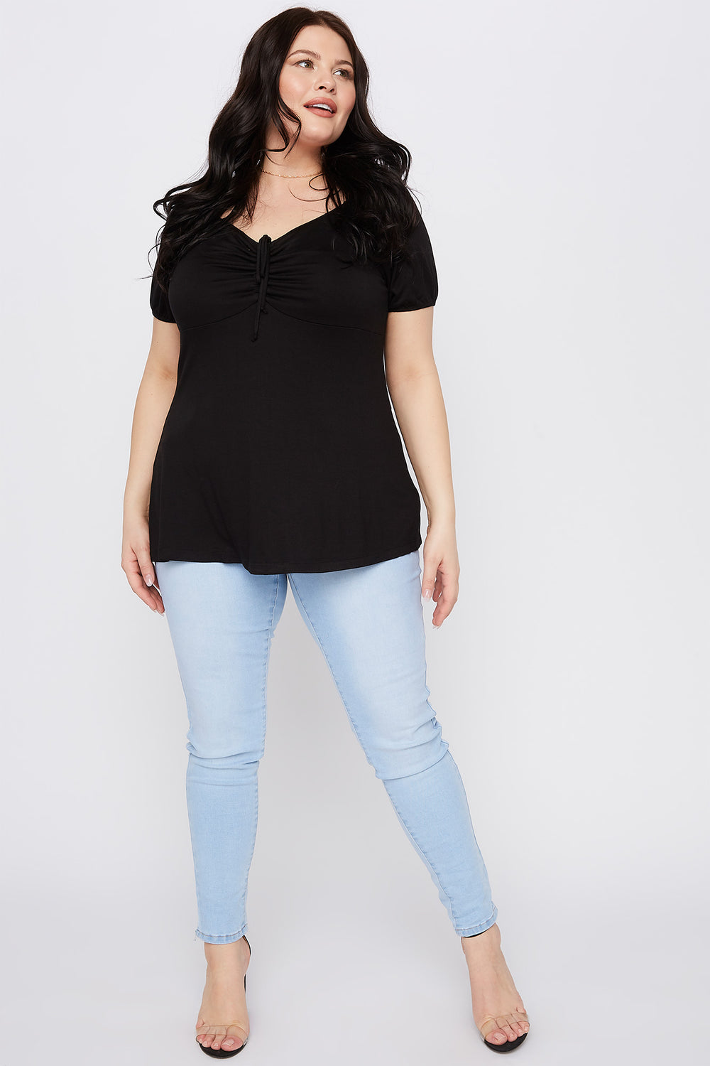 Plus Size Ruched V-Neck Short Sleeve Top Black