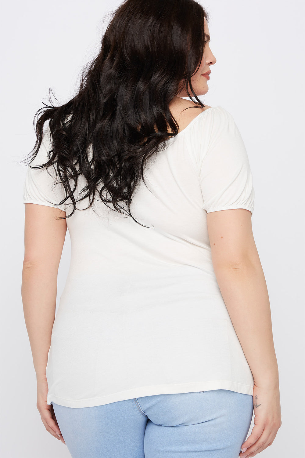 Plus Size Ruched V-Neck Short Sleeve Top Off White