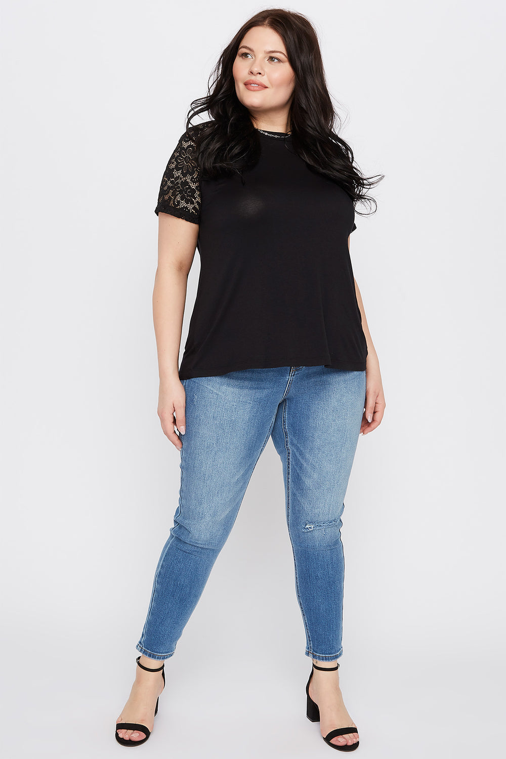 Plus Size Lace Sleeve T-Shirt Black