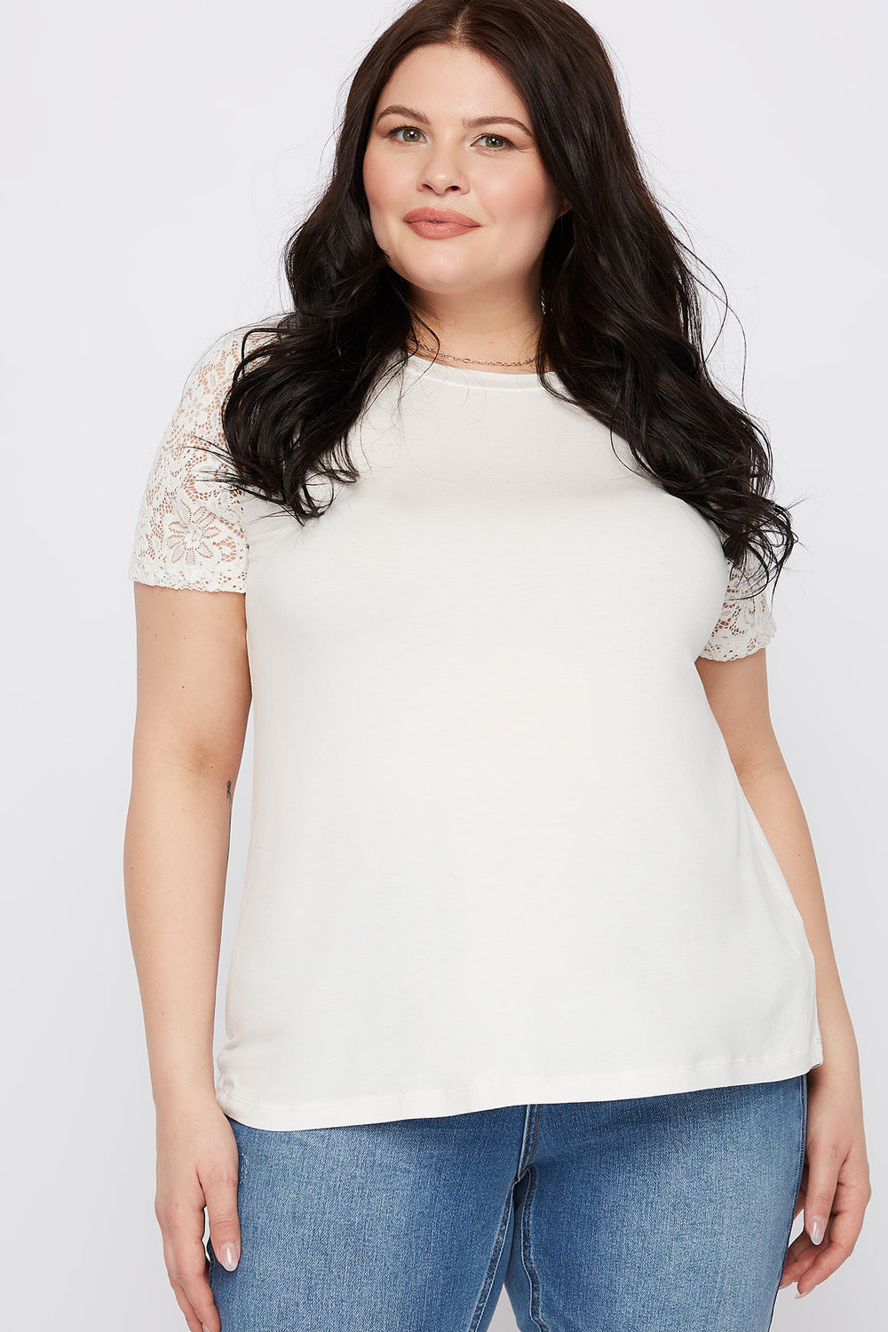 Plus Size Lace Sleeve T-Shirt Off White