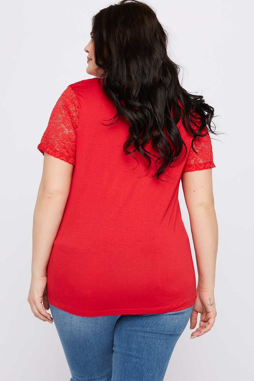 Plus Size Lace Sleeve T-Shirt Red