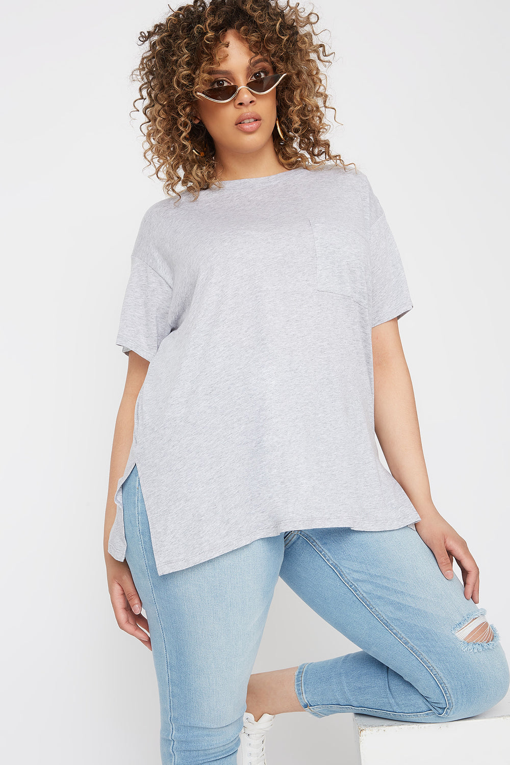 Plus Size Oversized Pocket T-Shirt Heather Grey