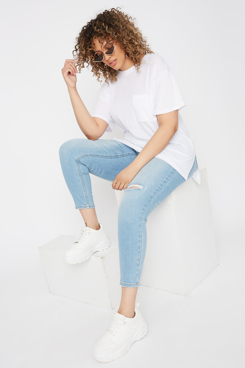 Plus Size Oversized Pocket T-Shirt White